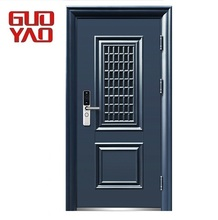 China supplier exterior front entry single security steel new iron grill window door designs