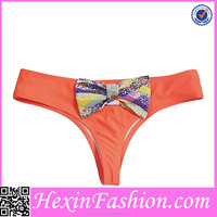 Wholesale Lover-beauty Sexy Orange Cinched Bikini Bottoms with Bowknot