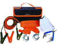 5pcs car emergency kit with jumper cables in carpet bag