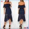 Custom Made Lovely Off The Shoulder Midi Navy Dresses Latest Dress Designs Photos Women Clothing
