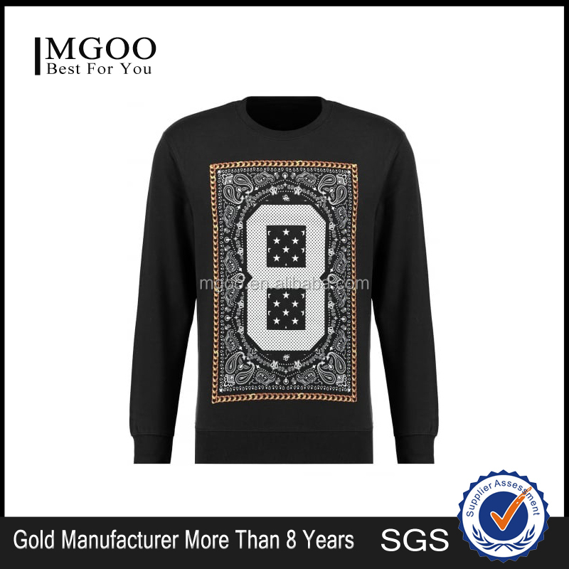 Hight Quality Custom Made Item Black Digital N0.8 Print Sweater With Crew Neck Man Cable Knit Sweater Pattern