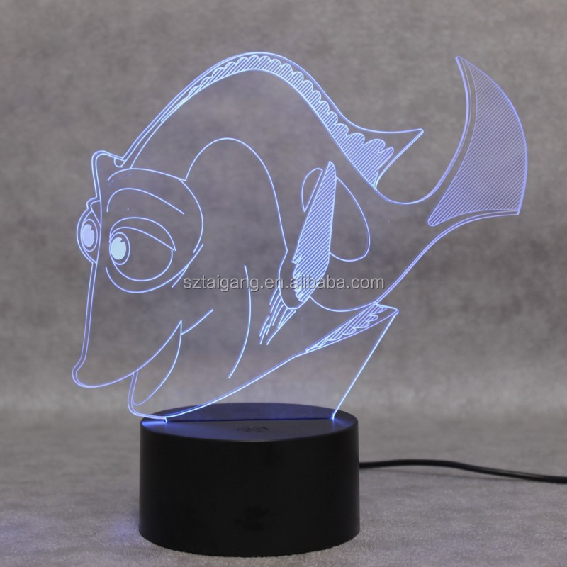 2016 New FASHION Dory Fish 3D Baby Bedroom room Table Lamp Night Light