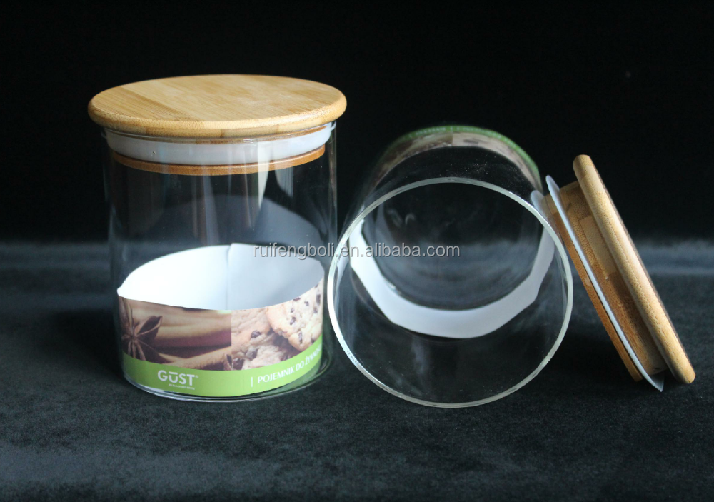 Storage clear glass jar with wooden top from Factory