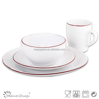 red crackle design ceramic dinnerware set 16pcs