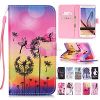 Printing PU Leather Wallet Case Mobile Phone Cover With Hand Strap for Samsung Galaxy S6 Edge Plus