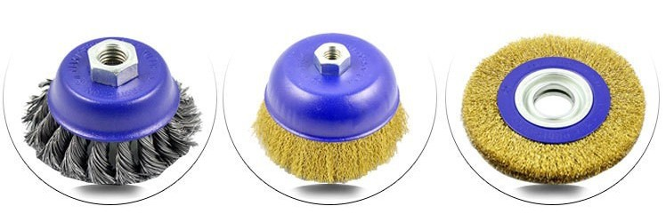 "4"" Carbon Crimp Wire Cup Brush for removing stain, rust, paint"