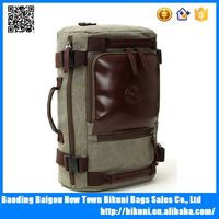 Wholesale vintage leather trim backpack bag laptop bag hiking large duffel canvas backpack bag for men