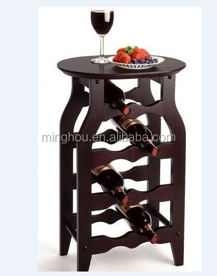 Home furniture Wine bottle holder table made of wood
