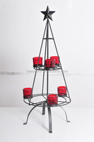 11A001- black metal with red glass tea light holder