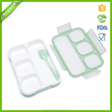 Shaker Japanese Lunch Bento Box Leak-Proof Sealing Food Container - 4 Compartments With a Spoon - BPA-free Microwave-Safe Boxes