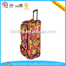 high quality printing durable travel duffel bag with trolley