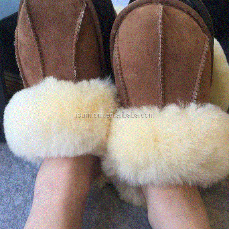 2016 NEW Glossy Hide Sheep Fur Double FaceSlippers