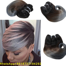 ombre grey blonde brazilian body wave short weave 8inch Brazilian Human Hair Weft 4pc/pack Sew In Weave Hair Accessories Women