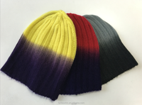Custom space dye novelty knitted slouch beanie hat with soft handfeel