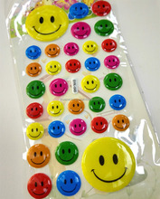 Factory price high quality cute happy game smiling face puffy sticker