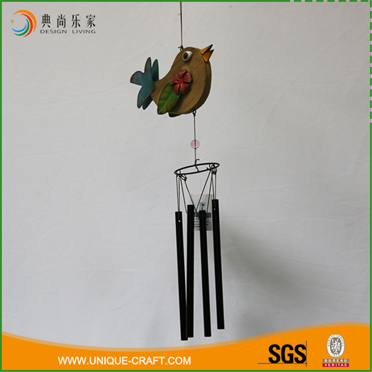 Wholesale garden decorative wooden bird wind chime with metal wind chime tube