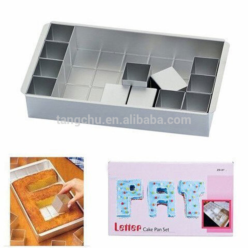 2017 Chinese Supplier Metal Cake Decorating Sugarcraft Gumpaste Flower Modelling Mold Alphabet Cake Pan/Cake Tin with Letter