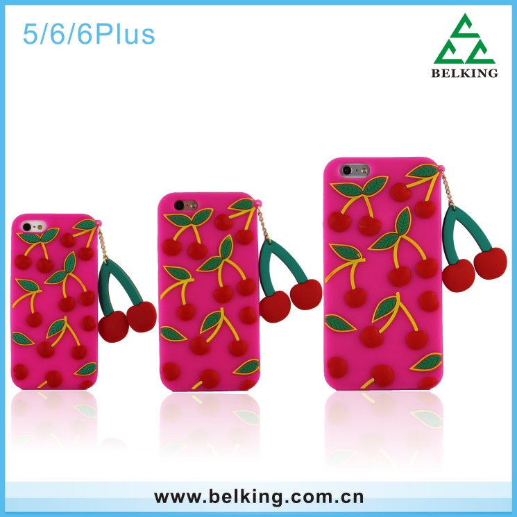 For iPhone 5 Cherry Silicone Back Cover Fruit Soft Rubber Case For iPhone 6 6plus