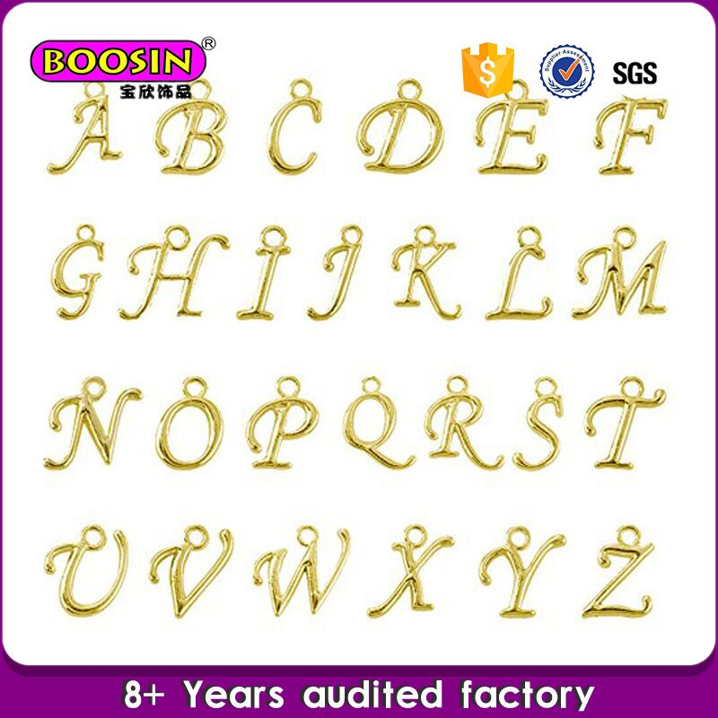Fashion alphabet charm jewerly design alloy gold letter locket letter m pendant, fashion letter p pendant jewelry