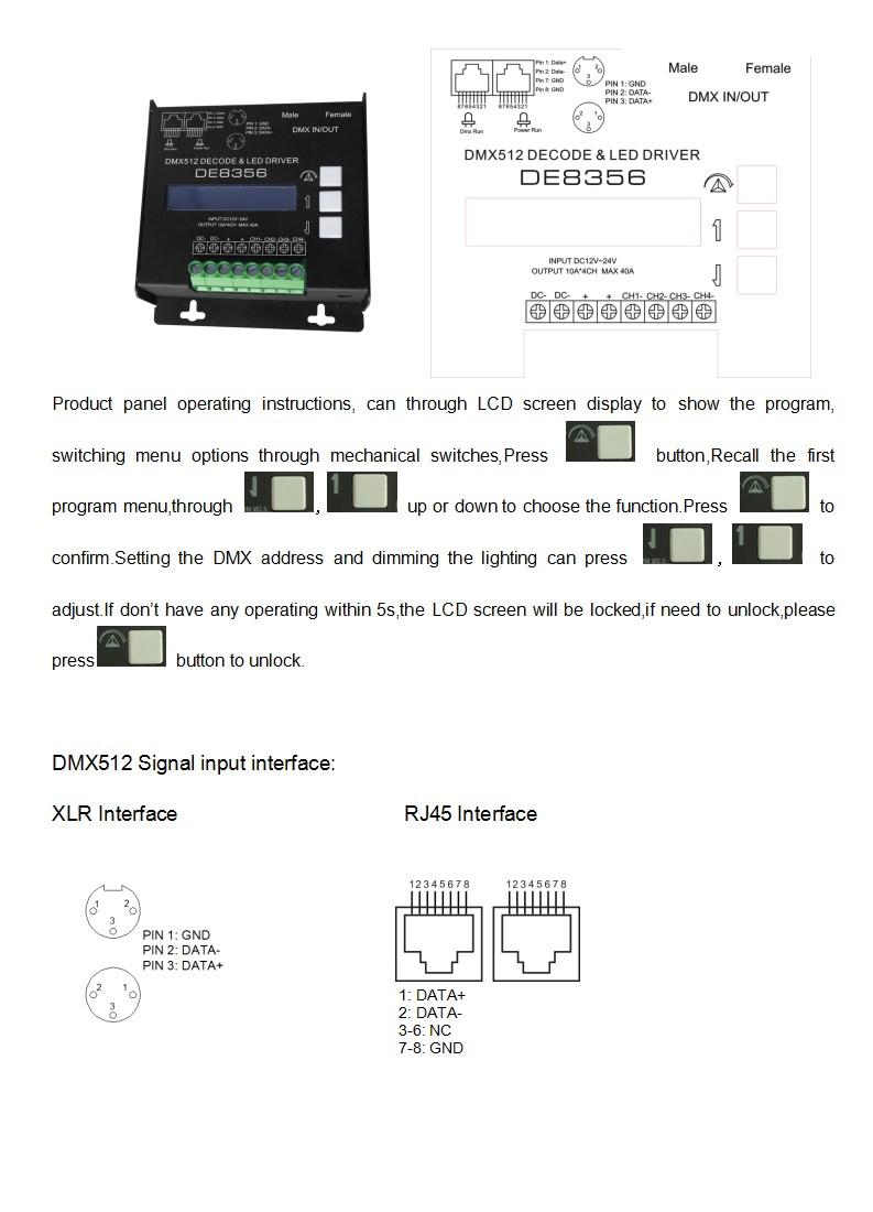 Xlr 5pin Rj45 Dmx Led Dimmer 512 Decoder Rgbw Buy To Wiring Diagram