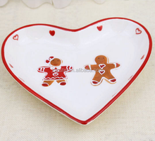 Custom heart shape ceramic candy plate, snack plate,Christmas decoration