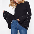 Custom crop top for ladies fashion clothing pearl beading exaggerate bell sleeve ribbed blouse
