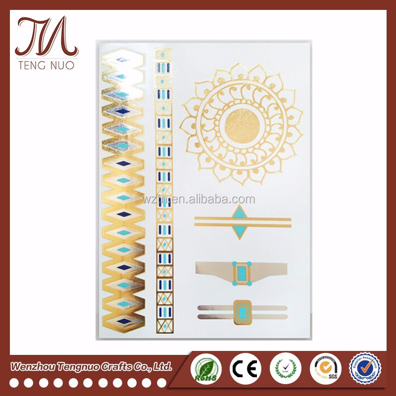 New Goods Metallic Temporary Tattoo Gold Party Tattoo