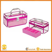 2-Piece Clear Acrylic Make Up Train Case,transparent acrylic makeup box,professional beauty box makeup vanity case