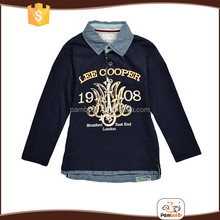 Autumn children cotton long sleeves boys fashion t shirt with jeans collar