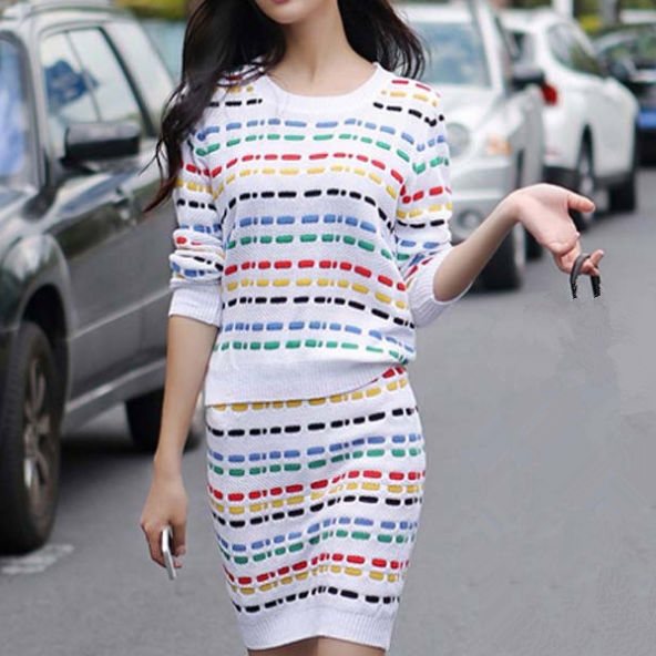 D24004Q 2014 the new designs autumn Europe fashion women colourful stripe knitted skirt suits