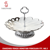 Flower Cake Tray In Electroplating Caving With Metal Stand