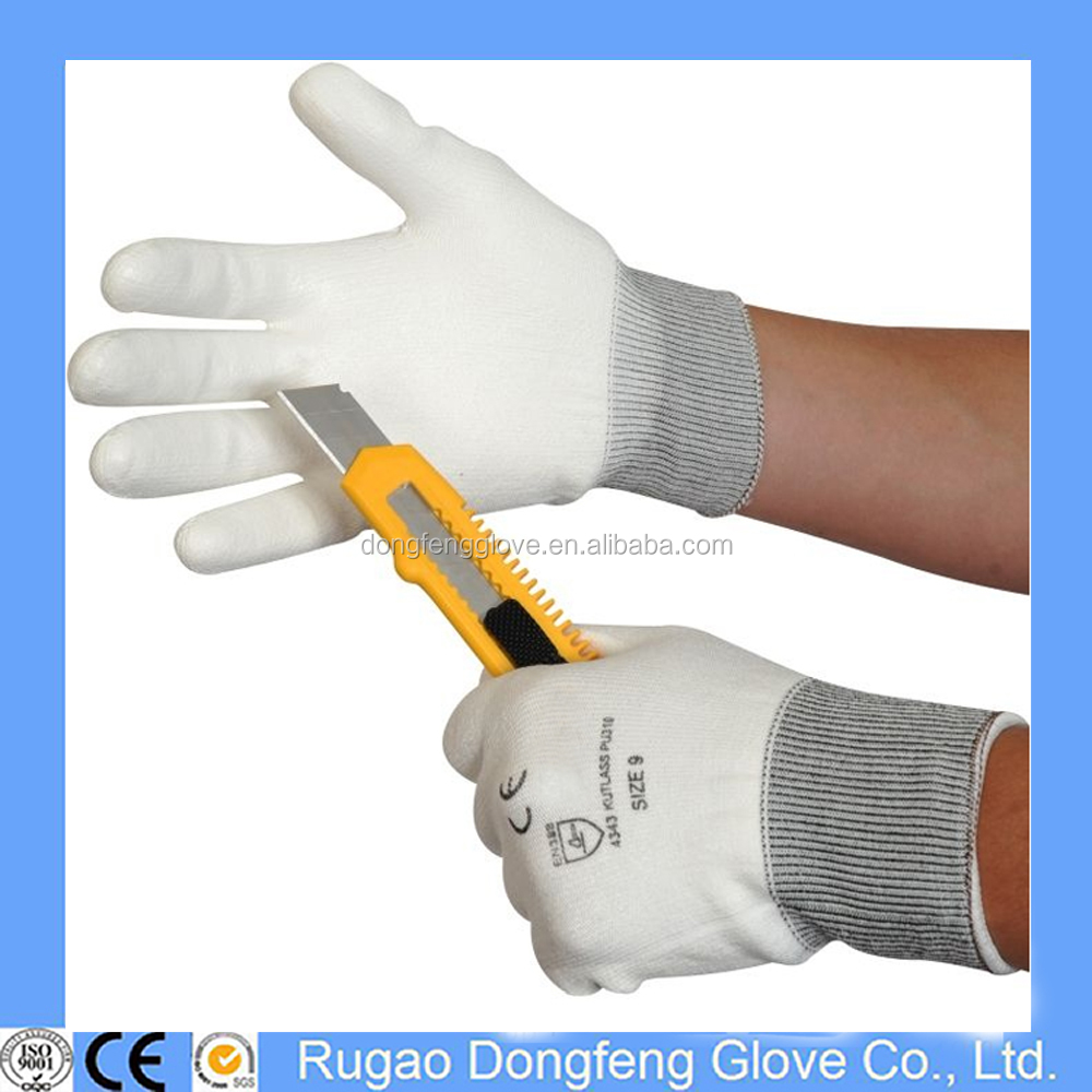 White PU Coated Cut Resistant Gloves,Class 5 Cut Proof Gloves