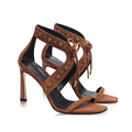 Wholesale Custom Fashion Suede Leather Lace Up Dress High Heel Sandal Ladies Shoes