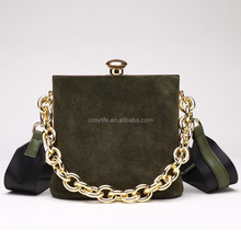 Newest Solid Color Scrub Handbag Splicing Genuine Leather Ladies Bags Handbag With Thick Chain For Best Gift