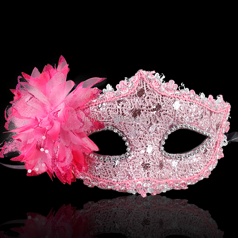 Sexy Party Costume Mask Half Face Lace Mask Flower on Side MJA176