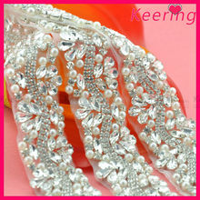 Bridal decorative rhinestone and pearl applique trimming WRA-571