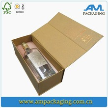 high end magnetic cardboard wine packaging box with hinged lid for champagne gift set