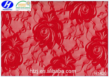 Hongtai african guipure red roses lace fabrics for wedding dress