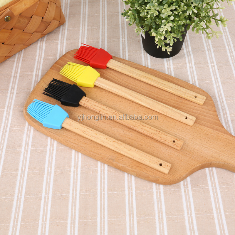 pastry sweep bakery baking tools long silicone wooden handle baking brush