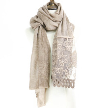 Hijab Cotton Pashmina Turkey Hollow Out Lace Women Scarf