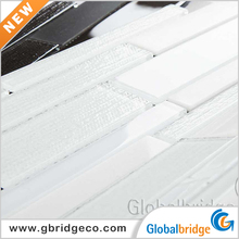 Hot sale snow white crystal tile peel and stick tile glass mix stone mosaic