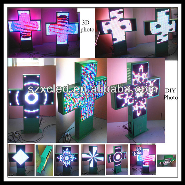 Single side full color RF wireless communication P10-48X48cm LED cross sign pharmacy