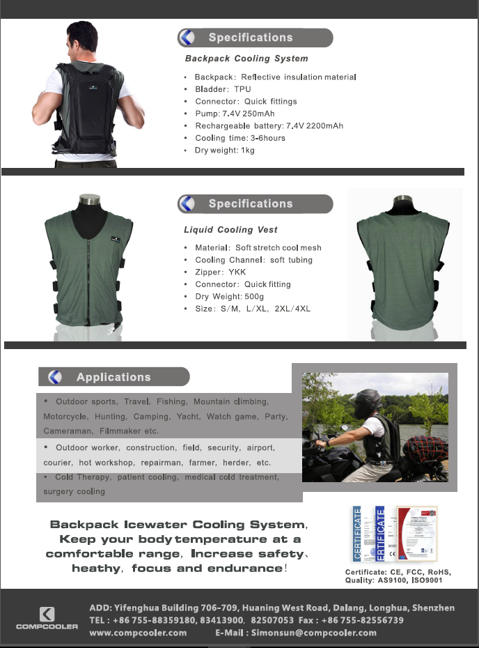 China manufacturer diapers cooling vest with certificate