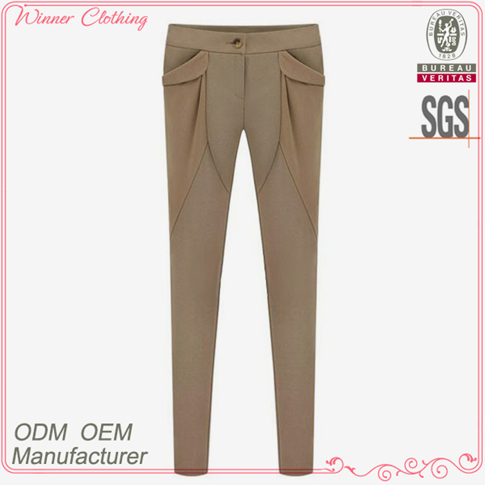 New arrivals hot sales ladies high fashion elegant khaki tight pants