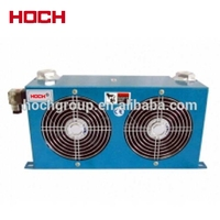 Fan oil cooler for hydraulic system, fin plate heat exchanger
