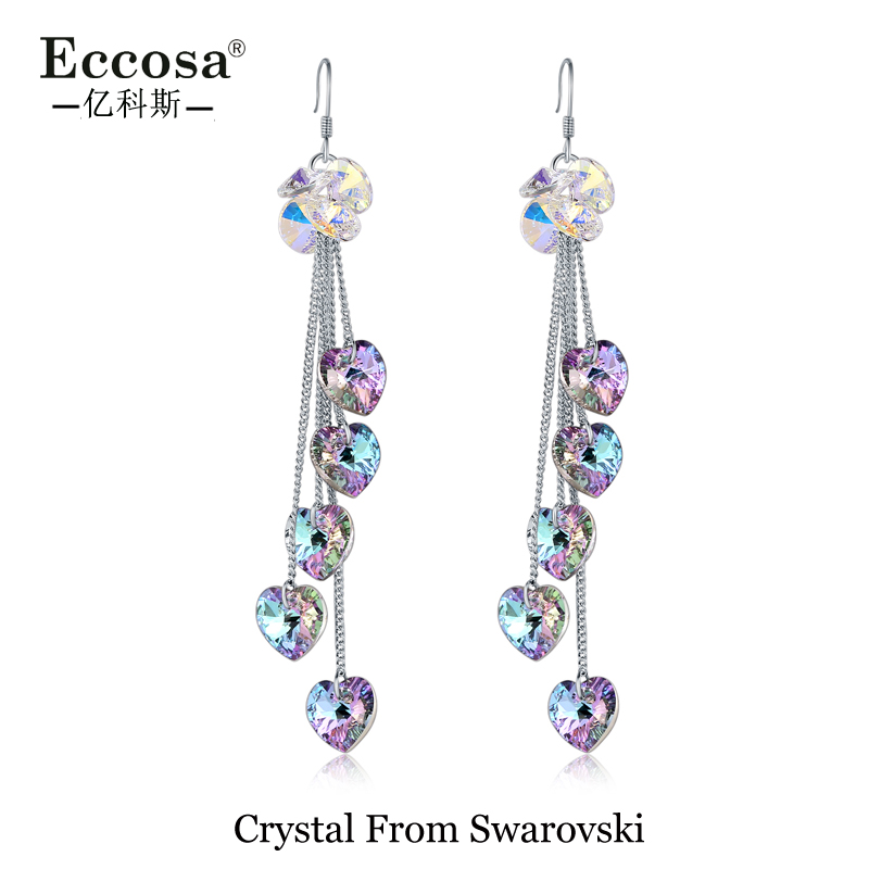 2018 new arrivals heart shape dangling earrings women crystal from swarovski valentine's day