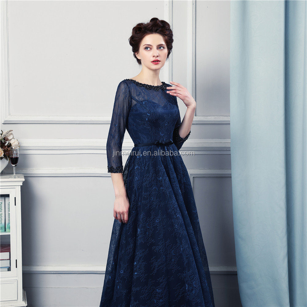 Navy Blue Long Bridesmaid Dresses High Quality Lace Floor Length 3/4 Long Sleeves Sheer Illussion Corset Brides Maid Vestidos De