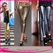 Wholesale Girls Shiny PVC Sexy Silver Legging