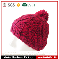 Wholesale Custom Rose Acrylic Crochet Winter Hat with PomPom