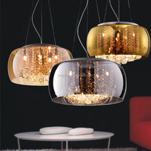 Modern Suspended Circular Ring Glass Pendant Light With Crystal Beads G9 Base Home Decor Glass Haing Light